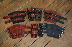Brown/ Wood Grain Leather Bracers with rivets by Dredmorsplunder