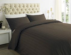 From 28.95 Sapphire Collection 100% Stripe Tc400 Egyptian Cotton Duvet Quilt Cover Pillow Cases All Sizes (king Chocolate)