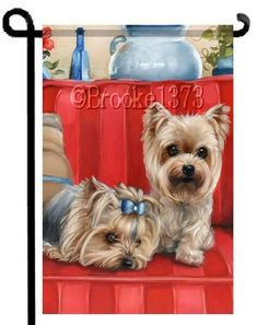 YORKIE painting GARDEN FLAG Dog ART Yorkshire Terrier by Brooke Faulder