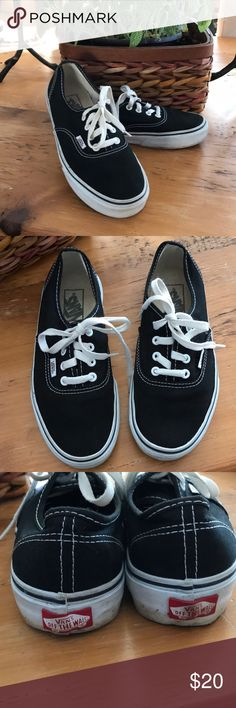 Traditional Vans Black canvas vans . Used but not abused. A little dirt on white edges. Vans Shoes Sneakers