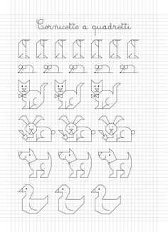 Cornicette e disegni a quadretti is one of images from animali a quadretti. This image's resolution is pixels. Find more animali a quadretti images like this one in this gallery Blackwork Patterns, Blackwork Embroidery, Cross Stitch Embroidery, Embroidery Patterns, Graph Paper Drawings, Graph Paper Art, Easy Drawings, Cross Stitch Borders, Cross Stitch Baby