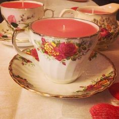 Old candles + thrift store tea cups = Brilliant table decor