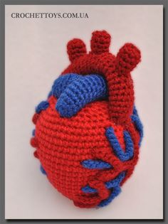 Anatomical Crocheted Heart found via the Russian blog CrochetToys.