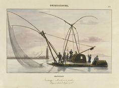 Traya, machine à pêcher, Philippines Voyage de la corvette La Favorite,1830/32 dessin d'après nature par François-Edmond Pâris