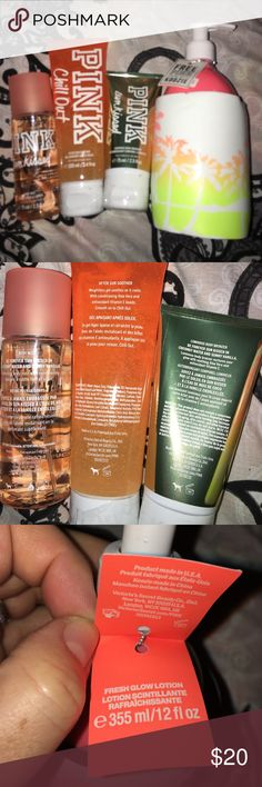 BN VS PINK body care set sun kissed and fresh glow All brand new. Sun kissed in body mist 2.5oz, after fun soother 3.4oz, sun kissed luminous body bronzer 2.5oz, and 12 oz fresh glow lotion with koozie. All brand new pet free smoke free home. PINK Victoria's Secret Other