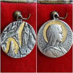 Vintage French Blessed Mother Mary Medal Blessed Virgin Our Lady Religious Catholic Jewelry Art Nouveau Signed by PinyolBoiVintage on Etsy
