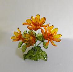 Orange Lucite Flowers Bouquet Plant Yellow by RaindropVintageShop, $12.00