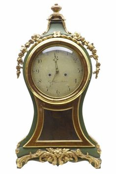 OnlineGalleries.com - 18TH CENTURY SWEDISH GILT AND PAINTED MANTLE CLOCK
