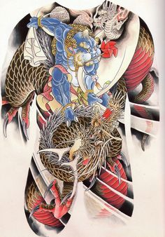fugu-suicide: Horigyn - dragon and fujin - scan from Spit Spit Spit. dragon and raijin is next.