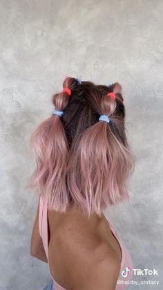Medium Hair Styles, Curly Hair Styles, Hair Braiding Styles, Hair Medium, Medium Brown, Bubble Ponytail, Ponytail Easy, Hair Upstyles, Aesthetic Hair