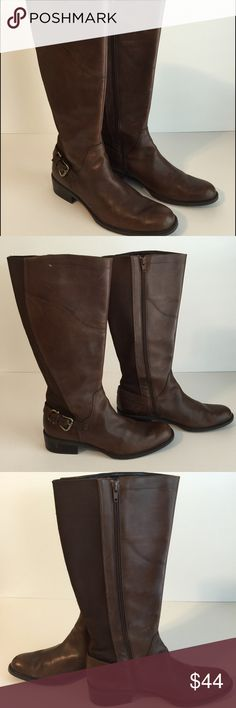 A.n.a Brown Leather Boots Size 9.5 A.n.a. brown leather boots, adjustable heel buckle, stretchy back, size 9.5. Excellent condition with normal light leather scratches from a smoke free home. a.n.a Shoes