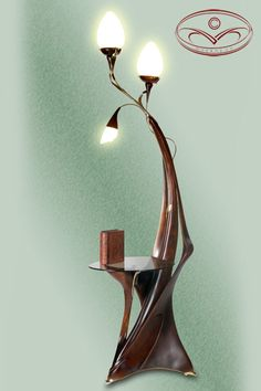 Floor lamp. Style: a modernist style. Material: a birch, Cast gilded bronze.