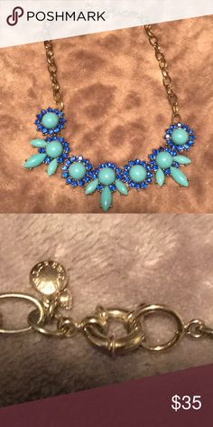 Stunning J Crew Necklace with blue stones Another fine necklace from J Crew. Blue on blue stones set in gold. This is a timeless neckless and can be dressed up or down. J. Crew Jewelry Necklaces