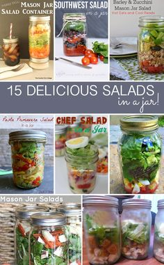 15 Salads in a jar -- grab your salad in a mason jar and take for lunch or a fun picnic!