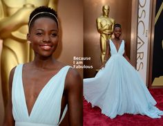 Lupita Nyong'o in her stunning Prada gown at the 2014 Academy Awards Red Carpet.