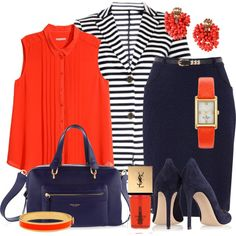 A fashion look from June 2015 featuring plus size womens shirts, stripe blazer and navy pencil skirt. Browse and shop related looks. Cute Summer Outfits, Summer Wear, Trendy Outfits, Cute Outfits, Skirt Fashion, Fashion Outfits, Fashion Sets, Blazer Outfits, Skirt Outfits