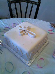 Like the single layer square cake. like the cross on top....Baptism Cake