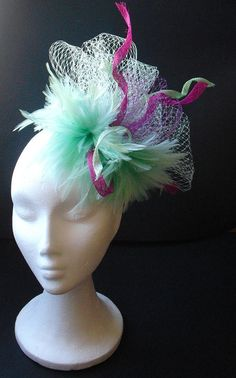 Green and pink fascinator mint green fascinator with by TocameMika