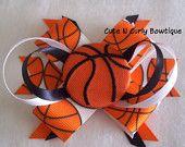 Basketball Girls Hair bow Orange White Black