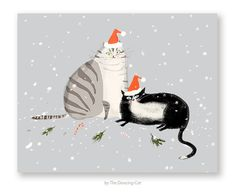 Holiday Cheer Christmas Cat Card by jamieshelman on Etsy