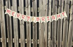 Christmas Banner - Merry & Bright Banner - Merry Bright Sign - Christmas Photo Prop - Christmas Decor - Christmas Mantle by 3BlessingsBurlap on Etsy