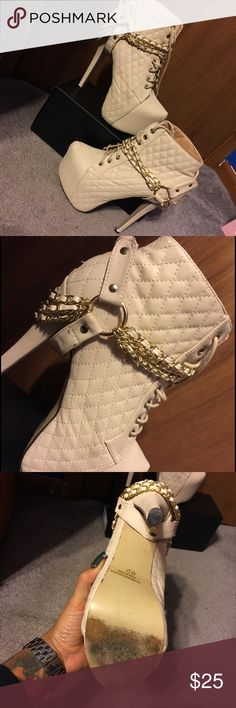 Nude Platform Boots WORN, feature gold hardware (is removable as pictured), 3inch platform, 6inch heel, quilted faux leather, bottoms ARE PICTURED, In GREAT condition only wear is on the bottoms, lace up fronts, surprisingly comfortable. #platforms #nude #heels #booties #fall #bdonnas Shoes Platforms