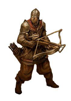 m Fighter City Guard Crossbow I might have already reppined this Fantasy Male, Fantasy Armor, Medieval Fantasy, Dark Fantasy, Fantasy Concept Art, Fantasy Character Design, Character Concept, Character Art, Fantasy Portraits