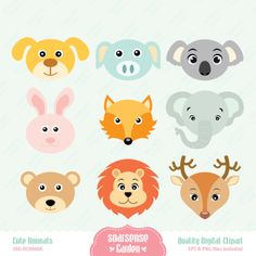 Cute Animals Digital Clipart Bear Rabbit Lion por SSGARDEN en Etsy