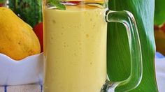 Mangos and bananas are blended with milk and yogurt creating a quick and easy snack or breakfast.