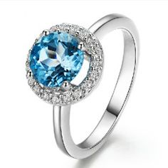 1.6 ct Natural Blue Topaz And CZ Rings 925 Sterling Silver - USD $149.95