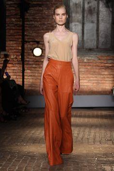 Yigal Azrouel RTW Spring 2012 - Wide Leg Leather Pants. Love the cognac color.