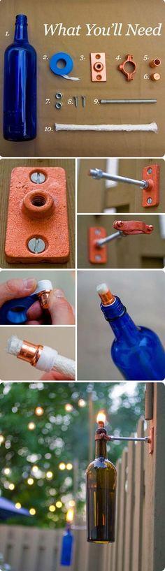 Make an Empty Bottle Tiki Torch