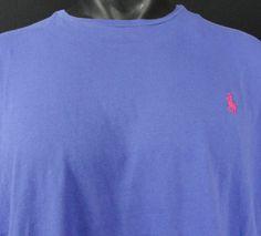NWT Polo Ralph Lauren Mens XL T-Shirt Crew Neck Medium Blue Cotton SS Pink Pony…