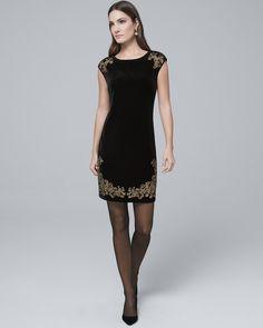 e049b2e432b6 Women's Embroidered Black Velvet Shift Dress by White House Black Market  Womens Fashion For Work,