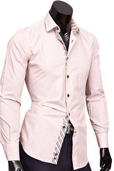Купить Бежевая приталенная мужская сорочка недорого в Москве
