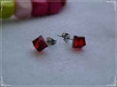 Aros de Acero, Diseño Cubo Rojo Cufflinks, Stud Earrings, Jewelry, Steel, Red, Jewels, Accessories, Jewlery, Jewerly
