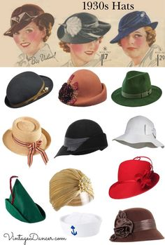 Clothes and Hats - 1930s Style Hats | Buy 30s Ladies Hats