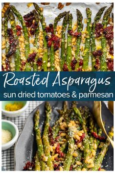 Lower Excess Fat Rooster Recipes That Basically Prime Oven Roasted Asparagus With Sun Dried Tomatoes, Pine Nuts, Garlic, And More Is A Delicious Mediterranean-Inspired Side Dish Fit For Any Occasion. This Easy Roasted Asparagus Recipe Is Quick To Make Yet Steak Side Dishes, Healthy Side Dishes, Side Dishes Easy, Vegetable Dishes, Side Dish Recipes, Veggie Recipes, Vegetarian Recipes, Healthy Recipes, Steak Sides