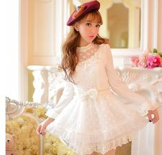 Cute princess sweet bowknot lace nail bead dress