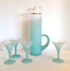 Vintage Aqua Blendo Martini Set by JaybirdFinds on Etsy, $52.00