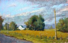 original pastel painting of an October day in Indiana
