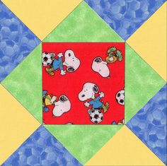 Soccer Beagle Dogs Pre-Cut Quilt Blocks Kit
