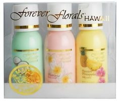 Hawaiian Scented Body Lotion Petite Sampler 3 Bottles 1oz Each Forever Florals and 1 Tube of Noni Maile Lavender Body Lotion 1 Tube of White Ginger Conditioning Shampoo -- Click image for more details.