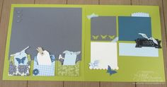 CAS four little die-cut scallop envelopes in the Urban Garden papers, Basic Gray, Kiwi Kiss