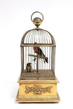 Large double singing bird cage automaton music box