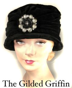 Early 1920s Philipsborn black velvet cloche hat trimmed with glass pearls and rhinestones.