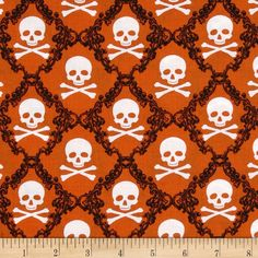 Raven Skulls Orange from @fabricdotcom  Designed by Rosemarie Lavin Designs for Windham Fabrics, this cotton print is perfect for quilting, apparel and home decor accents.  Colors include black, white and orange.