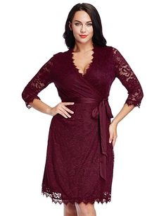 665451fedbe Plus Size Long Sleeve Wrap Dress in red with satin belt and scalloped hems  - Plus
