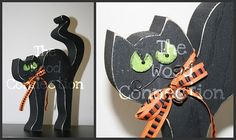 Black Cat Halloween  wood decor  The Wood Connection