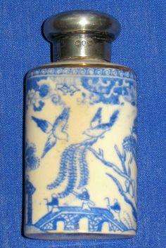 Antique Sterling Silver Blue Willow Spode Copeland Porcelain Perfume Bottle 1887 | eBay